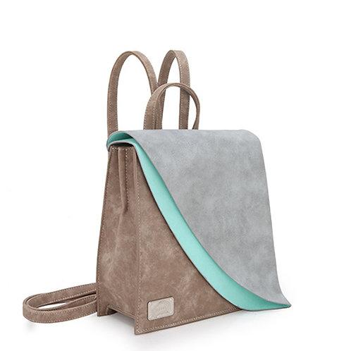 Beige Double Flap Back Pack Vegan Leather