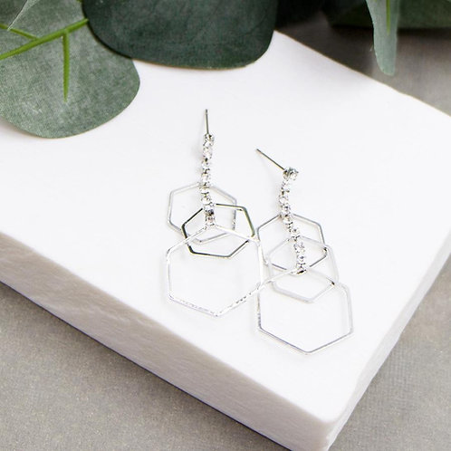 Triple Hexagon with Crystal Drop Earrings - Silver