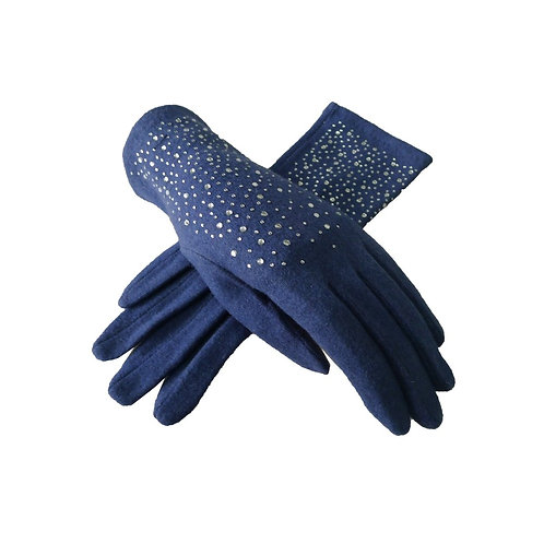 Wool Diamante detail gloves - Teal