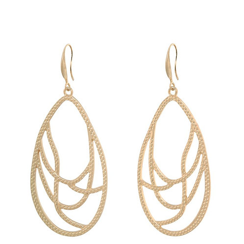 Gold plated pear swirl shaped drop earring