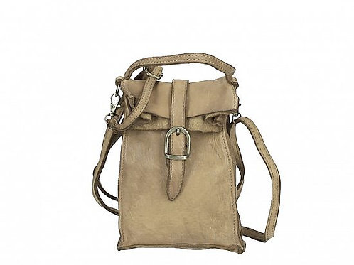 Small Buckle Crossbody Bag - Taupe Italian Leather