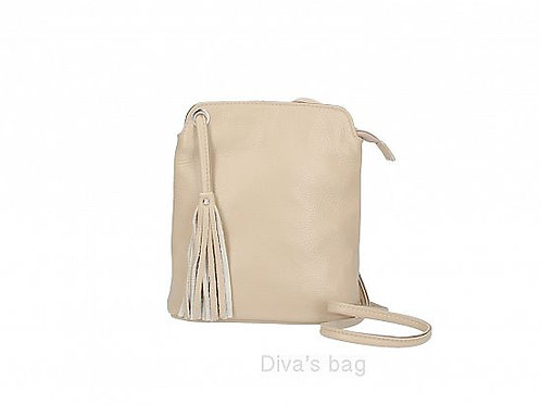 Taupe Tassel Small Crossbody Bag - Italian Leather