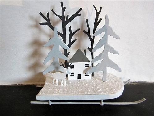 Winter Cottage Scene Decoration