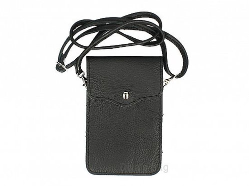 Crossbody Phone Purse - Black Italian Leather