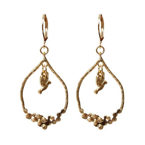 Hoop Drop Earring with Hanging Bird - Gold