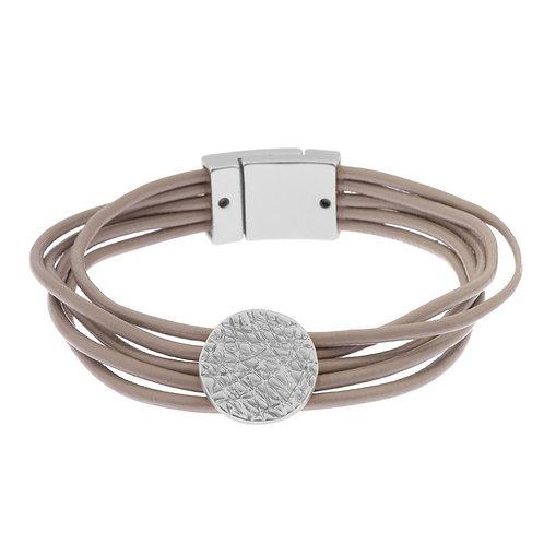 Magnetised multi strand bracelet with matt silver disk