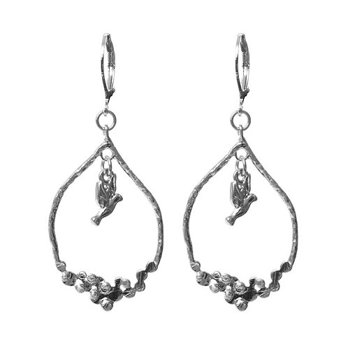 Hoop Drop Earring with Hanging Bird - Silver