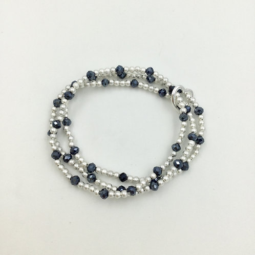 Blue crystal stretchy triple strand bracelet