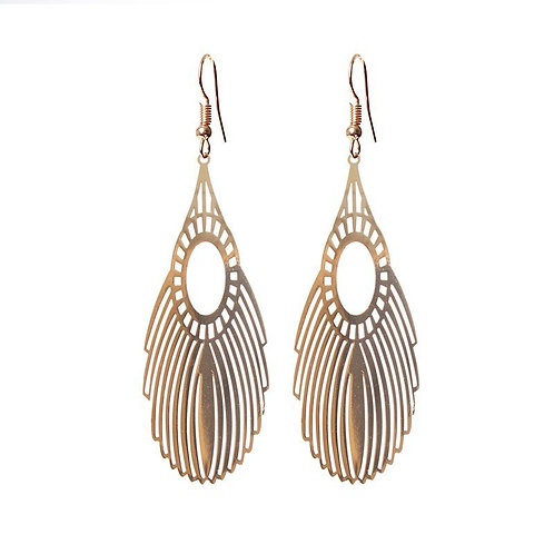 Gold plated filigree feather long drop earrings