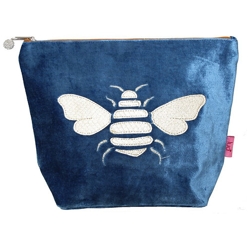 Large Bee Cosmetic Purse -Blue