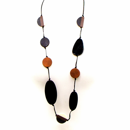 Oval wood beads and resin mix long necklace -Black Brown
