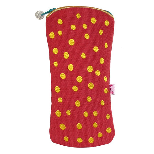 Embroidered Dots Glasses Purse - Coral
