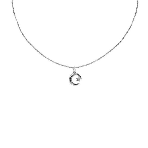 Silver plated star and moon delicate pendant