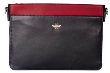 Black and Red Bee Leather Cross Body Bag
