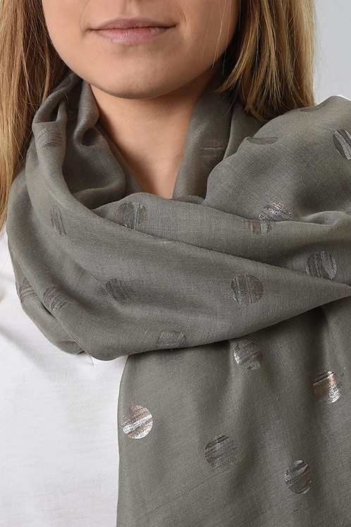 A grey scarf with  metallic circles