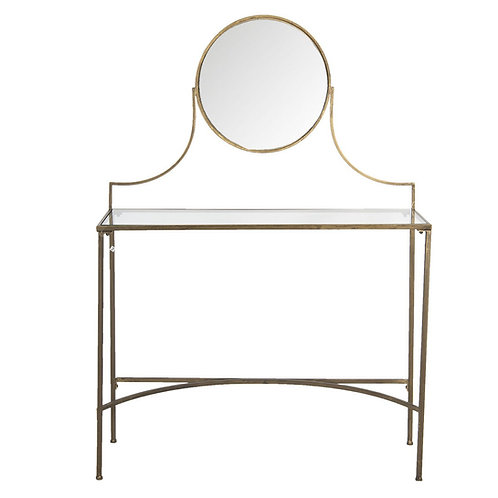Art Deco Style Dressing Table in Copper and Glass