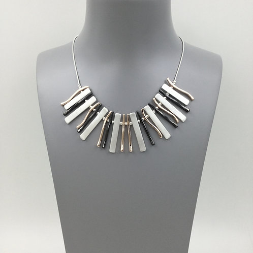 Mixed metal bars statement necklace