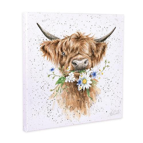 Flower Cow Wrendale Canvas Print
