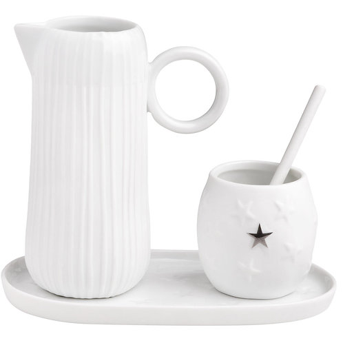 Milk and Sugar Set in Porcelain with Silver Star Boxed