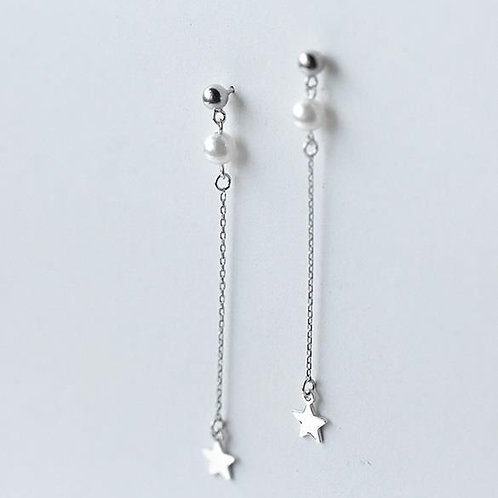Sterling Silver Pearl and Star on a Chain Earring