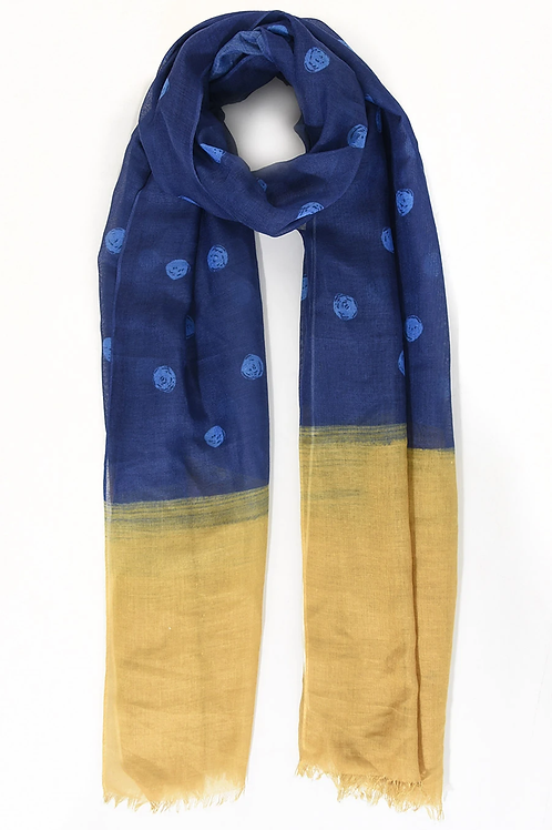 A  polka dot designed scarf with colour block ends - Navy Mustard