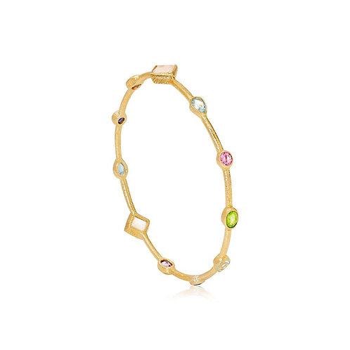 18ct Gold Vermeil Jewel Multicolour gemstone bangle