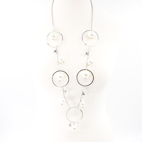 Circles and pearls mid length necklace - silver