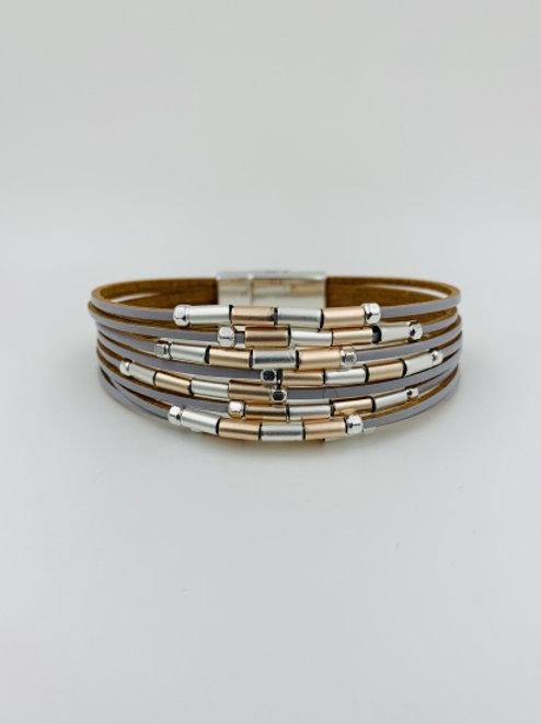Leather Multi Strand Bracelet with Tube Beads