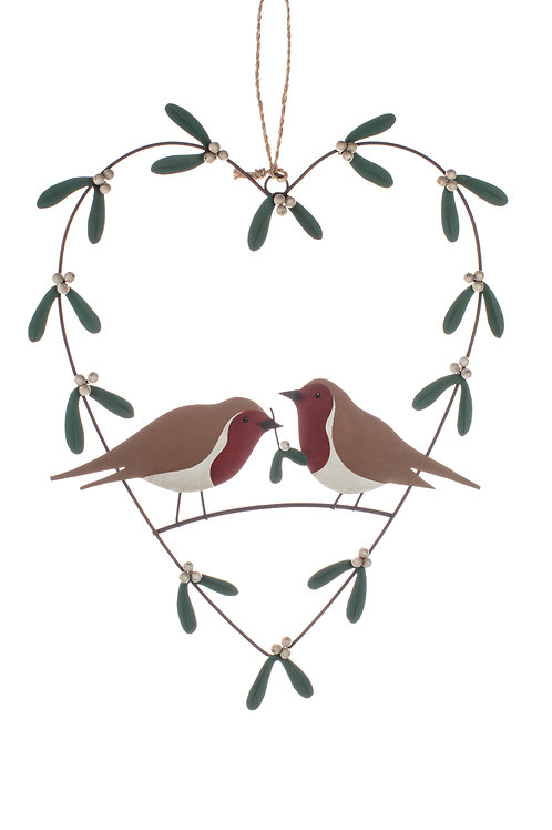 Rust Heart with Mistletoe and Robins