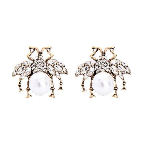 Large Crystal Bee Earring - Pearl