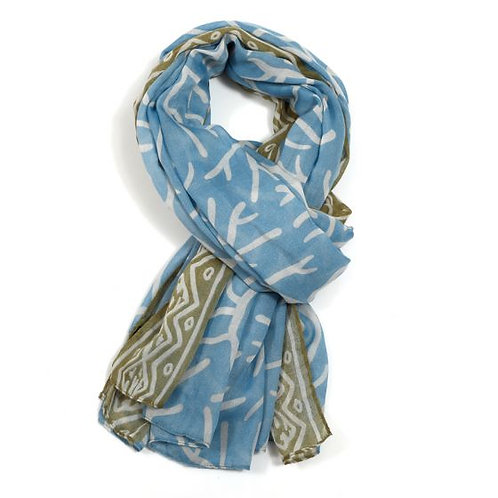Tribal Coral Scarf - Blue