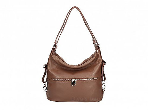Dark Brown 2 in 1 Shoulder & Backpack  - Italian Leather