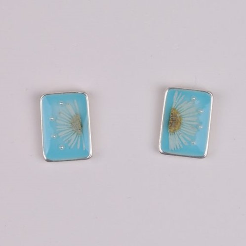 Rectangle Flower Resin Stud - Blue