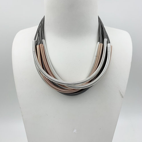 Multi Strand Statement Necklace with Wire Wound Tubes