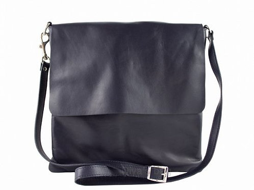 Soft  Flap Cross Body Bag -Navy Italian Leather