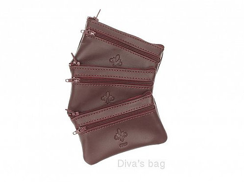 Leather Coin Purse - Burgundy