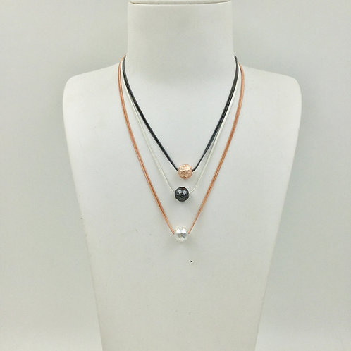 Three bead necklace in mixed metals