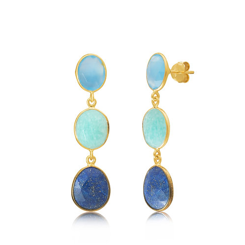 18ct Gold Vermeil drop Earrings -Light Blue Chalcedony/ Amazonite/ Lapis