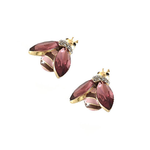 Gold Bee Stud Earring - plum