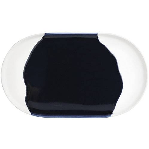 Navy and White Stoneware Tray