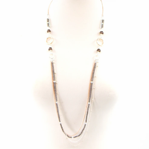 Long rope style necklace with grey glass and grey agate beads