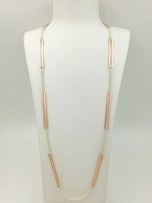 long necklace rose gold rectangle links, silver chain links