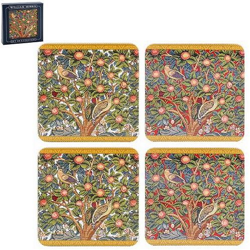 Coasters Set of 4 - William Morris Woodpecker