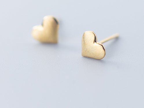 Sterling Silver Plated Gold Heart Stud Earring