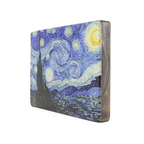 Starry Night -Old Masters Van Gogh Wood block Painting