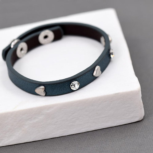 Heart and crystal leather bracelet -blue