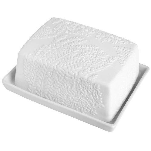Leaf Print Porcelain Butter Dish