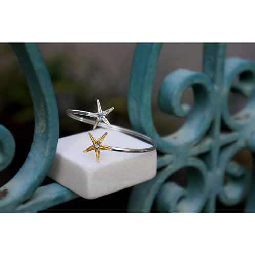 Starfish Bracelet in Sterling Silver and 14k Gold Plated with Blue Zircon