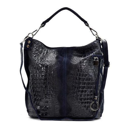 Crocodile patterned Italian leather handbag - Black