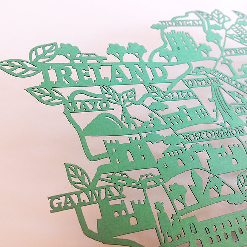 Laser Cut Map of Ireland - Green